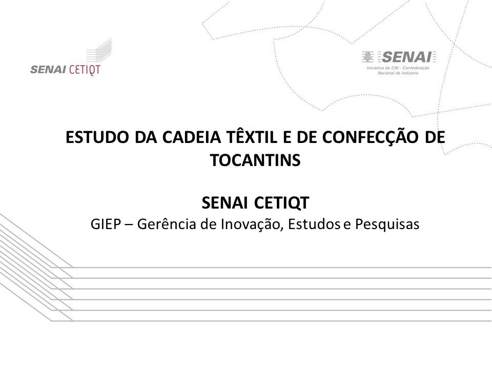 Título da apresentação Subtítulo ESTUDO DA CADEIA TÊXTIL E DE CONFECÇÃO DE TOCANTINS SENAI CETIQT GIEP – Gerência de Inovação, Estudos e Pesquisas