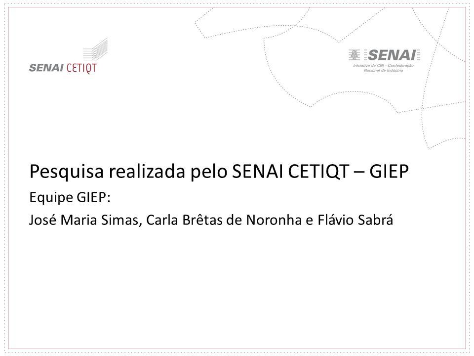 Pesquisa realizada pelo SENAI CETIQT – GIEP Equipe GIEP: José Maria Simas, Carla Brêtas de Noronha e Flávio Sabrá