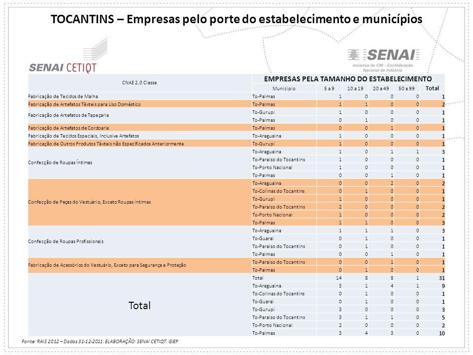 TOCANTINS – Empresas pelo porte do estabelecimento e municípios Fonte: RAIS 2012 – Dados 31-12-2011. ELABORAÇÃO: SENAI CETIQT. GIEP CNAE 2.0 Classe EM