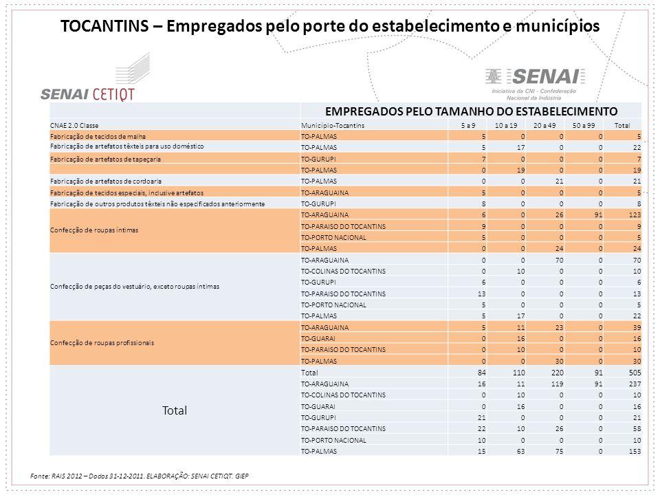 TOCANTINS – Empregados pelo porte do estabelecimento e municípios Fonte: RAIS 2012 – Dados 31-12-2011. ELABORAÇÃO: SENAI CETIQT. GIEP EMPREGADOS PELO