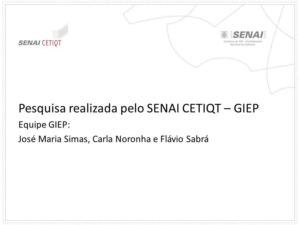 Pesquisa realizada pelo SENAI CETIQT – GIEP Equipe GIEP: José Maria Simas, Carla Noronha e Flávio Sabrá