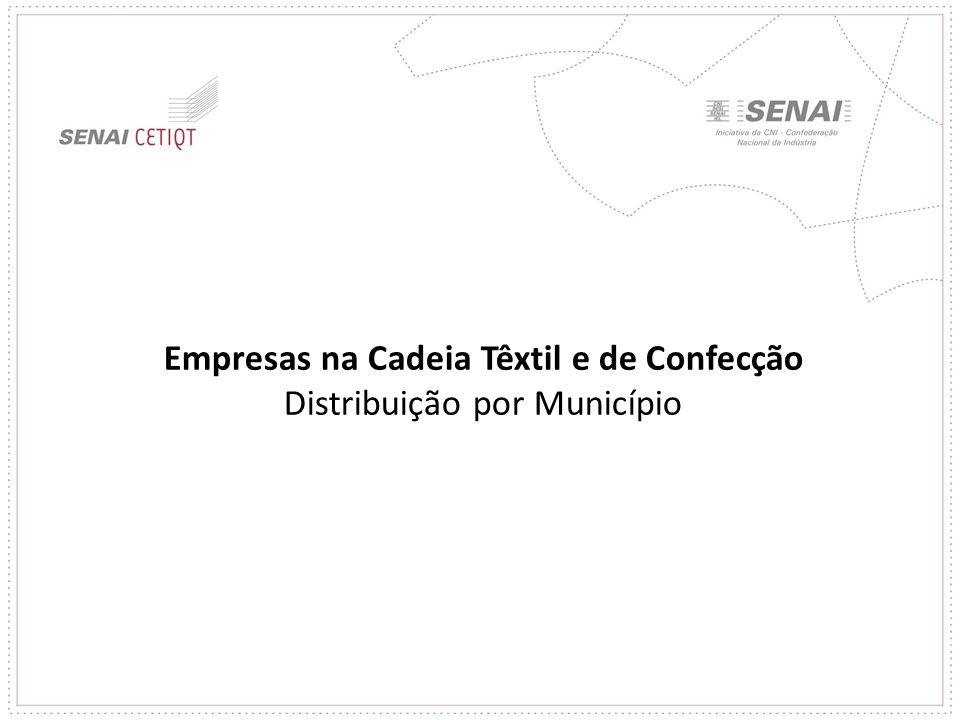 Empresas na Cadeia Têxtil e de Confecção Distribuição por Município