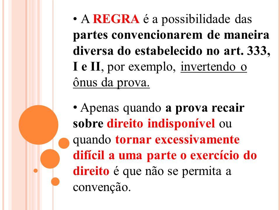 A REGRA é a possibilidade das partes convencionarem de maneira diversa do estabelecido no art. 333, I e II, por exemplo, invertendo o ônus da prova. A
