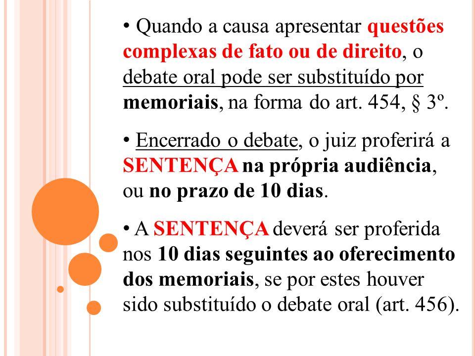 Quando a causa apresentar questões complexas de fato ou de direito, o debate oral pode ser substituído por memoriais, na forma do art. 454, § 3º. Ence