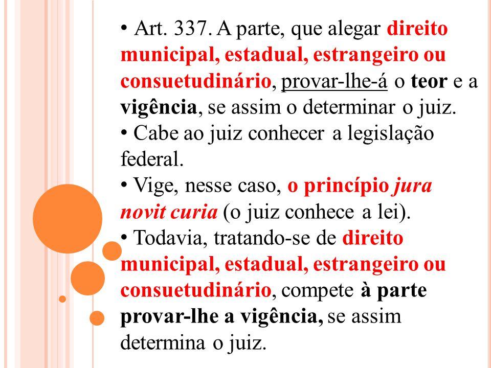 Art. 337. A parte, que alegar direito municipal, estadual, estrangeiro ou consuetudinário, provar-lhe-á o teor e a vigência, se assim o determinar o j