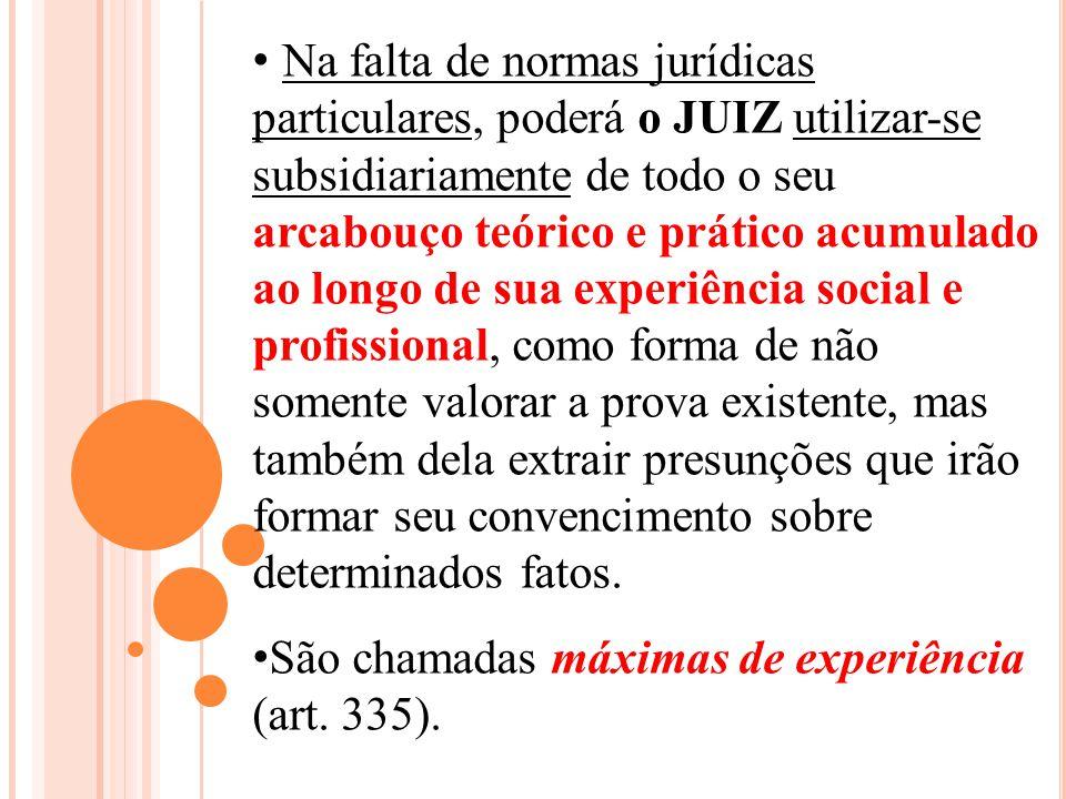 Na falta de normas jurídicas particulares, poderá o JUIZ utilizar-se subsidiariamente de todo o seu arcabouço teórico e prático acumulado ao longo de