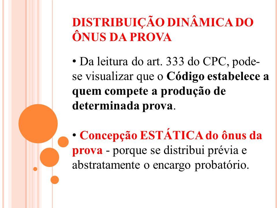 DISTRIBUIÇÃO DINÂMICA DO ÔNUS DA PROVA Da leitura do art. 333 do CPC, pode- se visualizar que o Código estabelece a quem compete a produção de determi