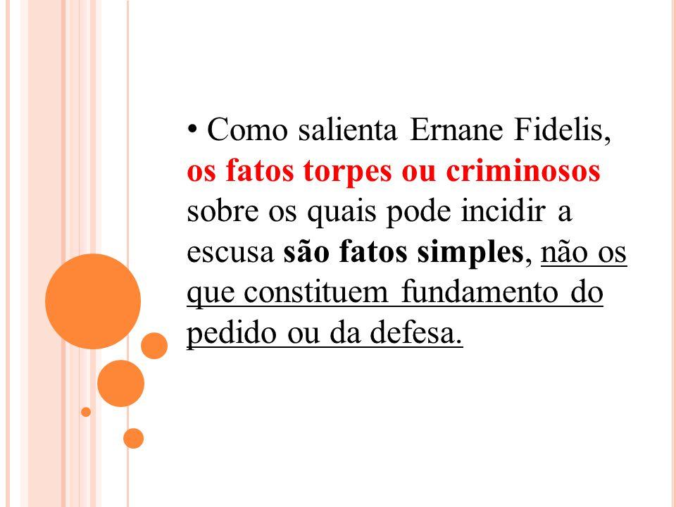 Como salienta Ernane Fidelis, os fatos torpes ou criminosos sobre os quais pode incidir a escusa são fatos simples, não os que constituem fundamento d