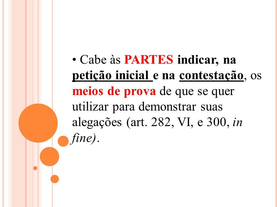 Cabe às PARTES indicar, na petição inicial e na contestação, os meios de prova de que se quer utilizar para demonstrar suas alegações (art. 282, VI, e