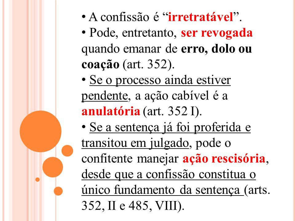 A confissão é irretratável. Pode, entretanto, ser revogada quando emanar de erro, dolo ou coação (art. 352). Se o processo ainda estiver pendente, a a