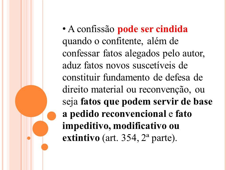 A confissão pode ser cindida quando o confitente, além de confessar fatos alegados pelo autor, aduz fatos novos suscetíveis de constituir fundamento d