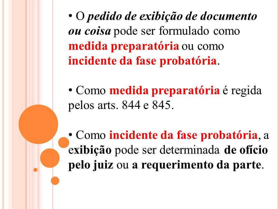 O pedido de exibição de documento ou coisa pode ser formulado como medida preparatória ou como incidente da fase probatória. Como medida preparatória