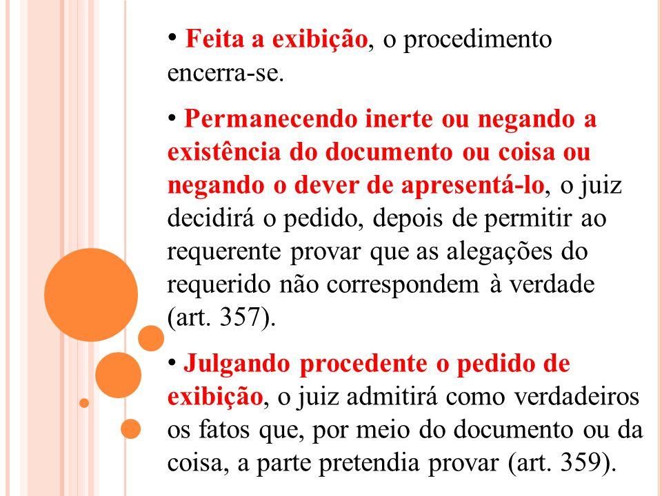 Feita a exibição, o procedimento encerra-se. Permanecendo inerte ou negando a existência do documento ou coisa ou negando o dever de apresentá-lo, o j