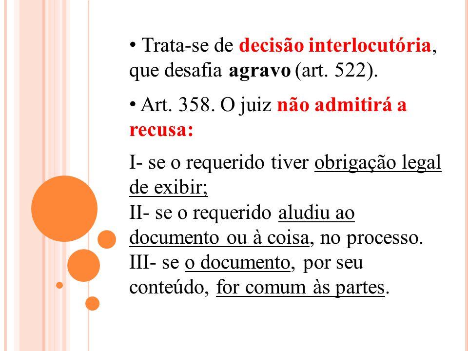 Trata-se de decisão interlocutória, que desafia agravo (art. 522). Art. 358. O juiz não admitirá a recusa: I- se o requerido tiver obrigação legal de