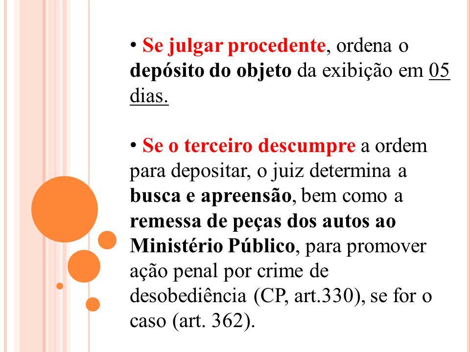 Se julgar procedente, ordena o depósito do objeto da exibição em 05 dias. Se o terceiro descumpre a ordem para depositar, o juiz determina a busca e a