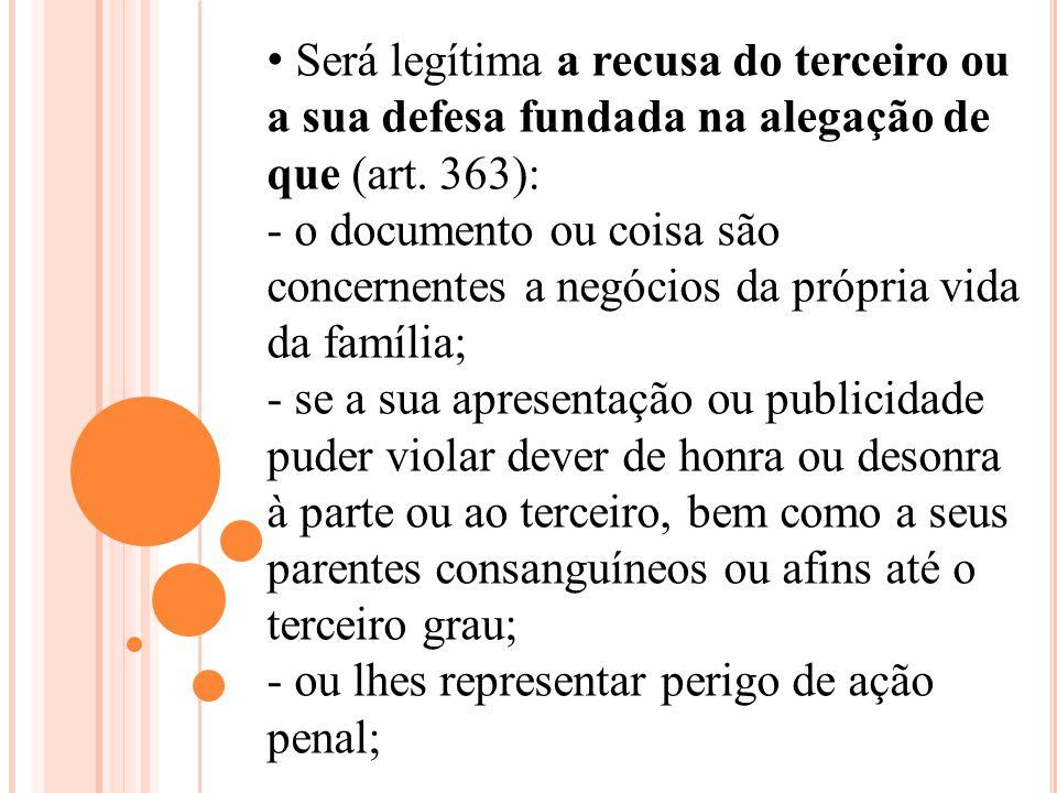 Será legítima a recusa do terceiro ou a sua defesa fundada na alegação de que (art. 363): - o documento ou coisa são concernentes a negócios da própri