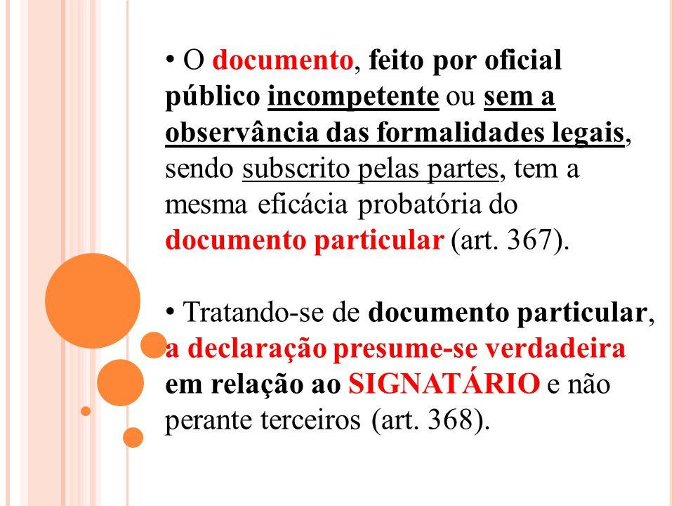 O documento, feito por oficial público incompetente ou sem a observância das formalidades legais, sendo subscrito pelas partes, tem a mesma eficácia p