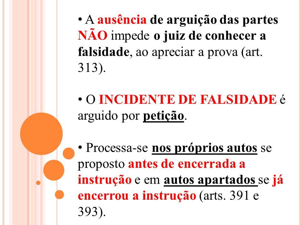 A ausência de arguição das partes NÃO impede o juiz de conhecer a falsidade, ao apreciar a prova (art. 313). O INCIDENTE DE FALSIDADE é arguido por pe