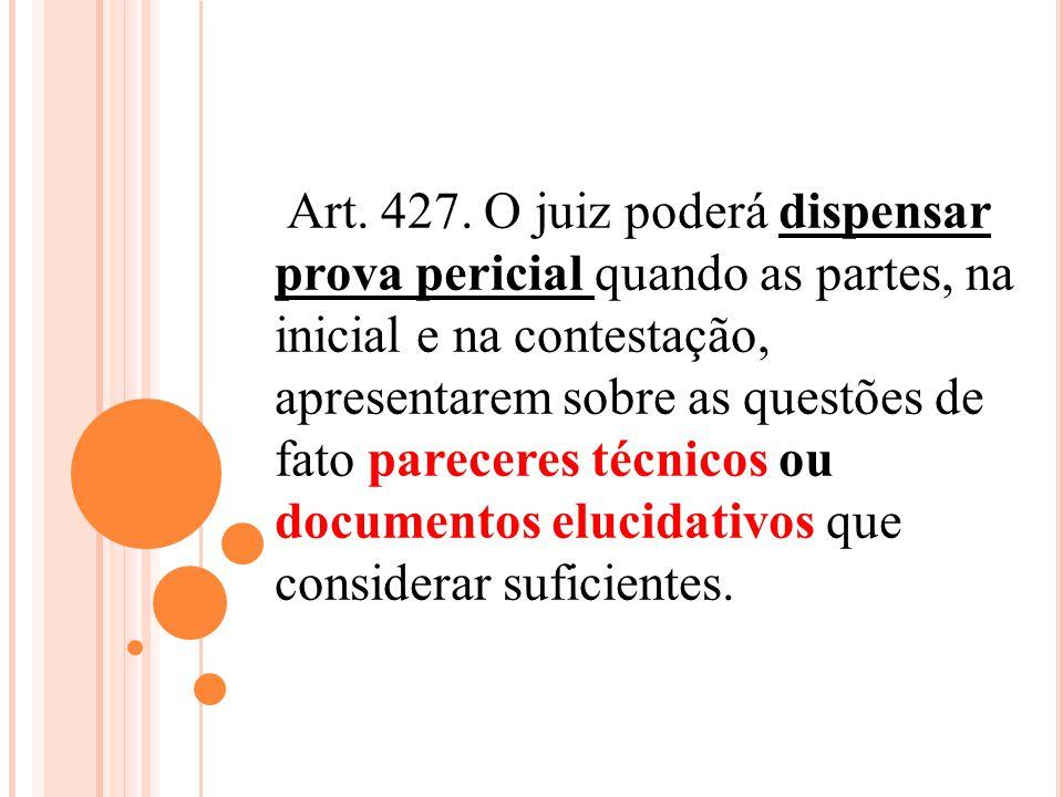 Art. 427. O juiz poderá dispensar prova pericial quando as partes, na inicial e na contestação, apresentarem sobre as questões de fato pareceres técni