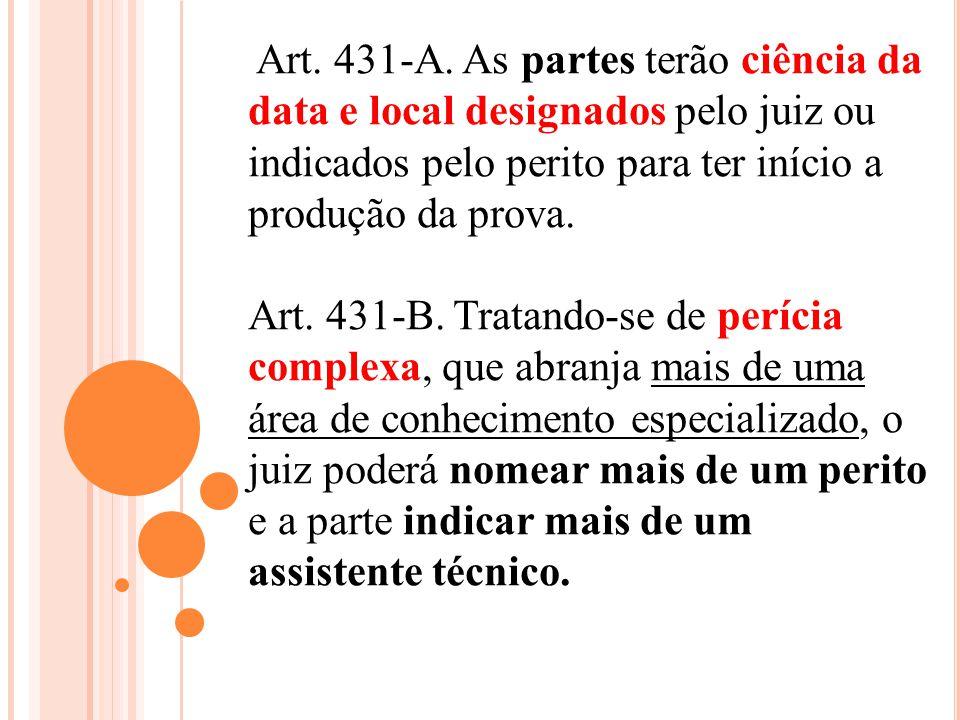Art. 431-A. As partes terão ciência da data e local designados pelo juiz ou indicados pelo perito para ter início a produção da prova. Art. 431-B. Tra