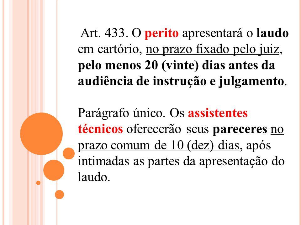 Art. 433. O perito apresentará o laudo em cartório, no prazo fixado pelo juiz, pelo menos 20 (vinte) dias antes da audiência de instrução e julgamento