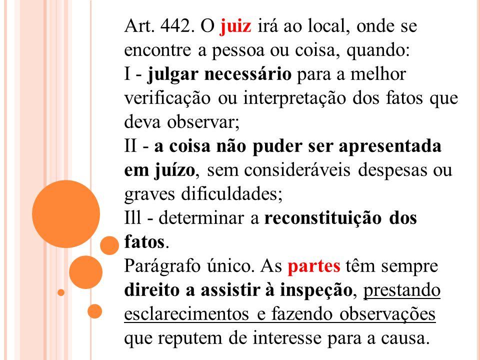 Art. 442. O juiz irá ao local, onde se encontre a pessoa ou coisa, quando: I - julgar necessário para a melhor verificação ou interpretação dos fatos