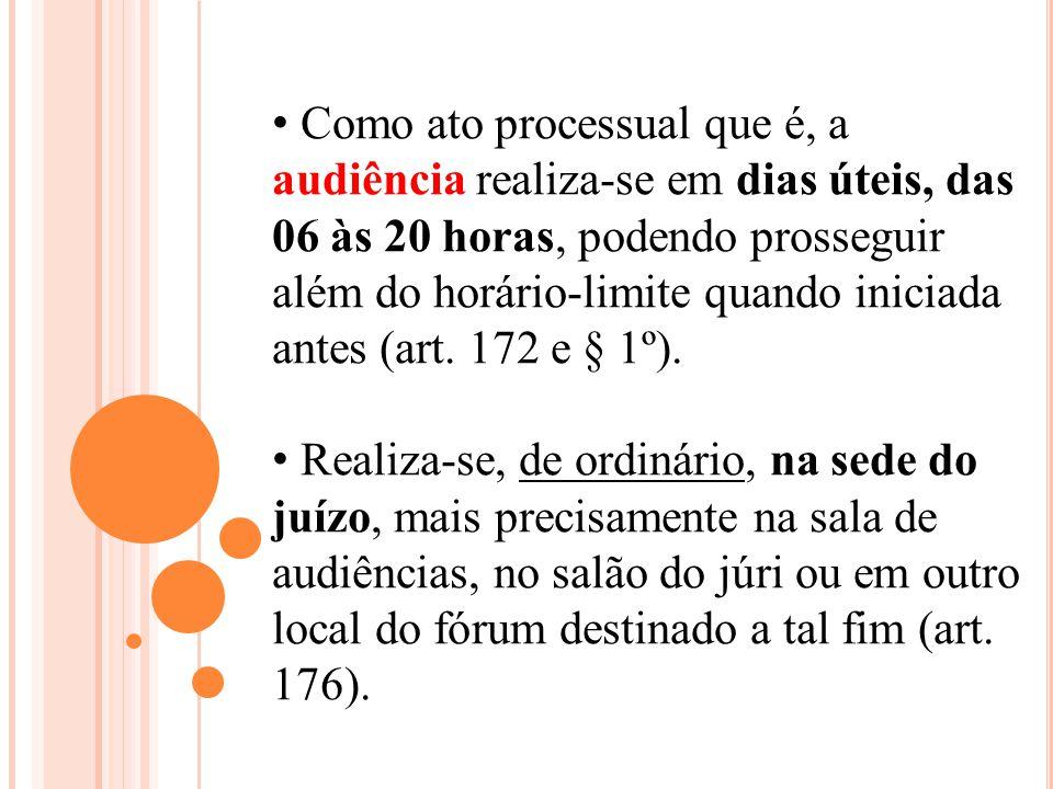 Como ato processual que é, a audiência realiza-se em dias úteis, das 06 às 20 horas, podendo prosseguir além do horário-limite quando iniciada antes (