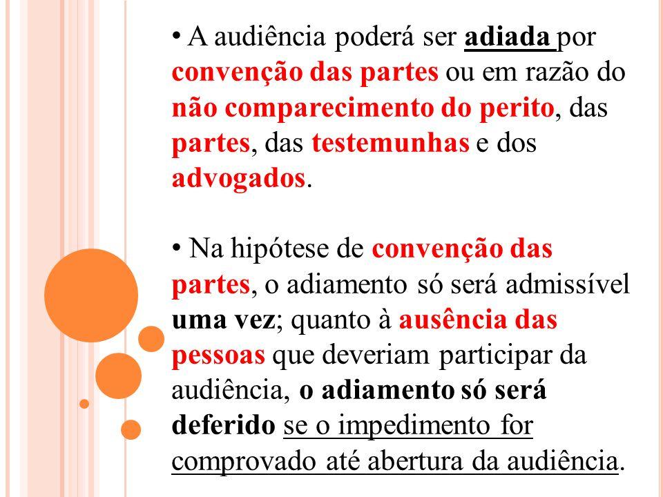 A audiência poderá ser adiada por convenção das partes ou em razão do não comparecimento do perito, das partes, das testemunhas e dos advogados. Na hi