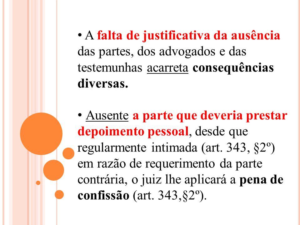 A falta de justificativa da ausência das partes, dos advogados e das testemunhas acarreta consequências diversas. Ausente a parte que deveria prestar
