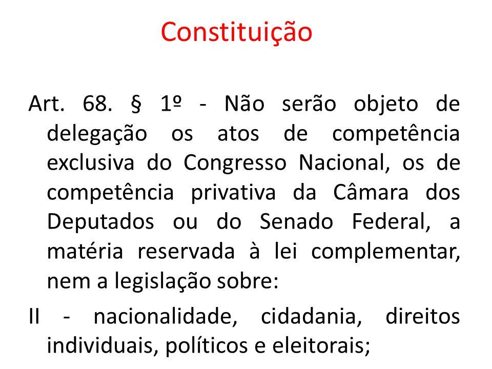 Art. 68. § 1º - Não serão objeto de delegação os atos de competência exclusiva do Congresso Nacional, os de competência privativa da Câmara dos Deputa