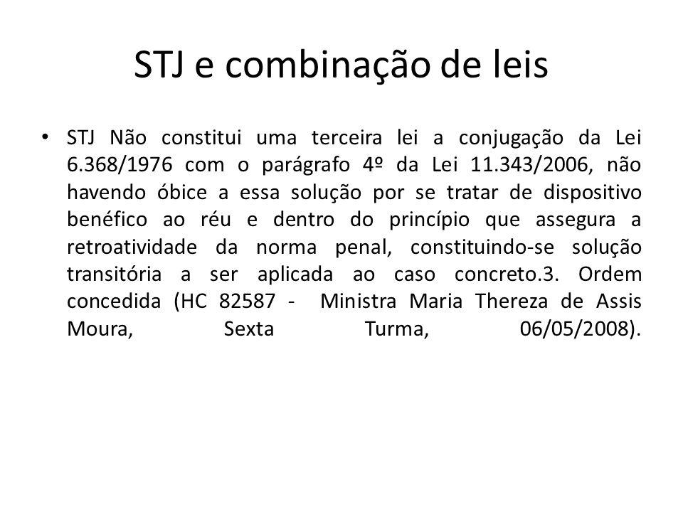 STJ e combinação de leis STJ Não constitui uma terceira lei a conjugação da Lei 6.368/1976 com o parágrafo 4º da Lei 11.343/2006, não havendo óbice a