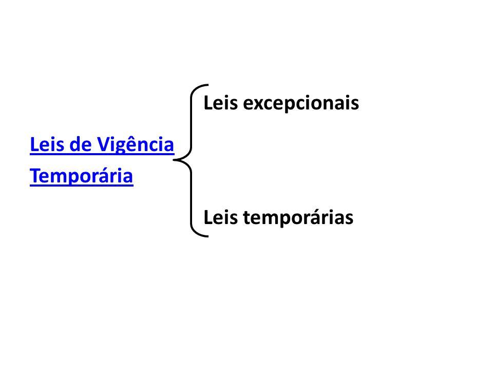 Leis excepcionais Leis de Vigência Temporária Leis temporárias