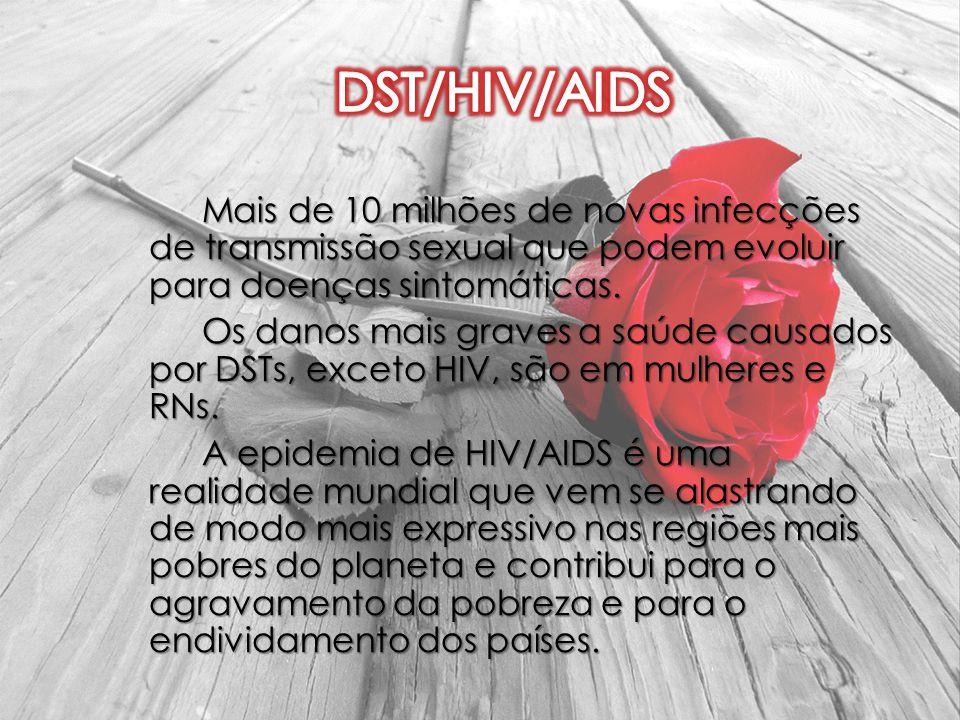 Mais de 10 milhões de novas infecções de transmissão sexual que podem evoluir para doenças sintomáticas. Os danos mais graves a saúde causados por DST