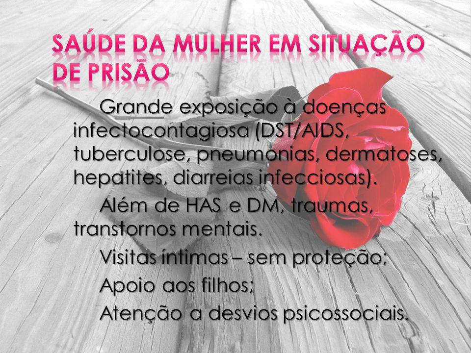 Grande exposição à doenças infectocontagiosa (DST/AIDS, tuberculose, pneumonias, dermatoses, hepatites, diarreias infecciosas).
