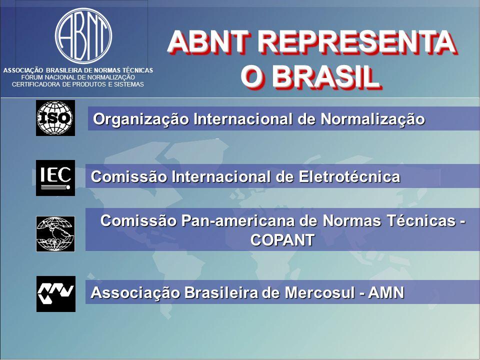 ASSOCIAÇÃO BRASILEIRA DE NORMAS TÉCNICAS FÓRUM NACIONAL DE NORMALIZAÇÃO CERTIFICADORA DE PRODUTOS E SISTEMAS ABNT REPRESENTA O BRASIL Organização Internacional de Normalização Comissão Internacional de Eletrotécnica Comissão Pan-americana de Normas Técnicas - COPANT Associação Brasileira de Mercosul - AMN