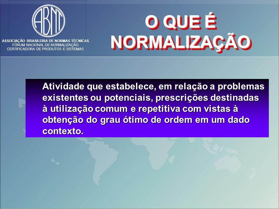 ASSOCIAÇÃO BRASILEIRA DE NORMAS TÉCNICAS FÓRUM NACIONAL DE NORMALIZAÇÃO CERTIFICADORA DE PRODUTOS E SISTEMAS Atividade que estabelece, em relação a pr