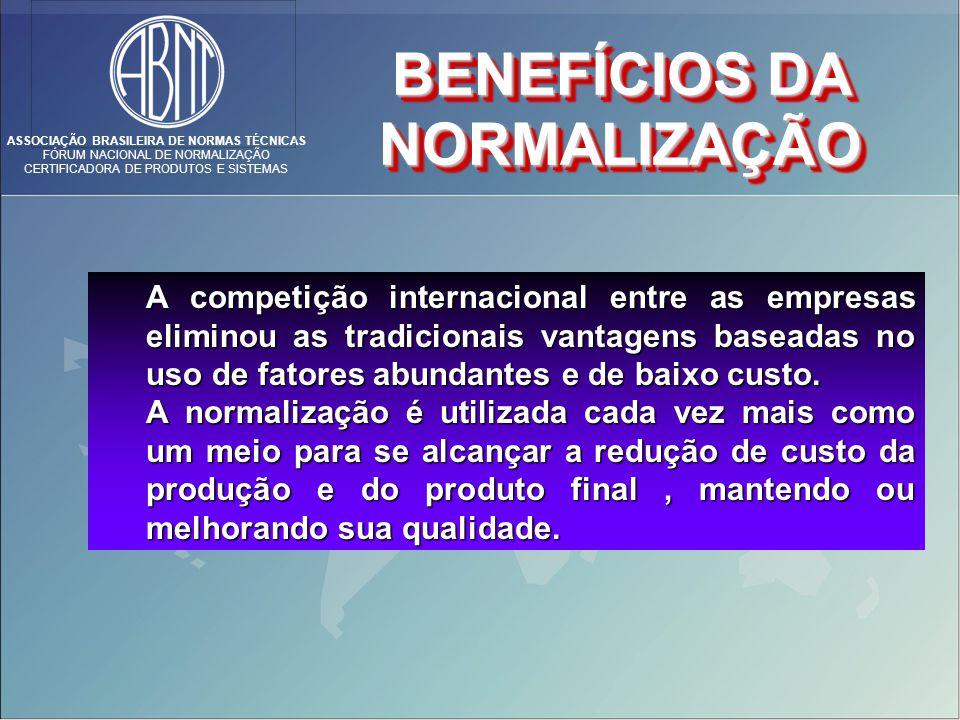 ASSOCIAÇÃO BRASILEIRA DE NORMAS TÉCNICAS FÓRUM NACIONAL DE NORMALIZAÇÃO CERTIFICADORA DE PRODUTOS E SISTEMAS A competição internacional entre as empresas eliminou as tradicionais vantagens baseadas no uso de fatores abundantes e de baixo custo.