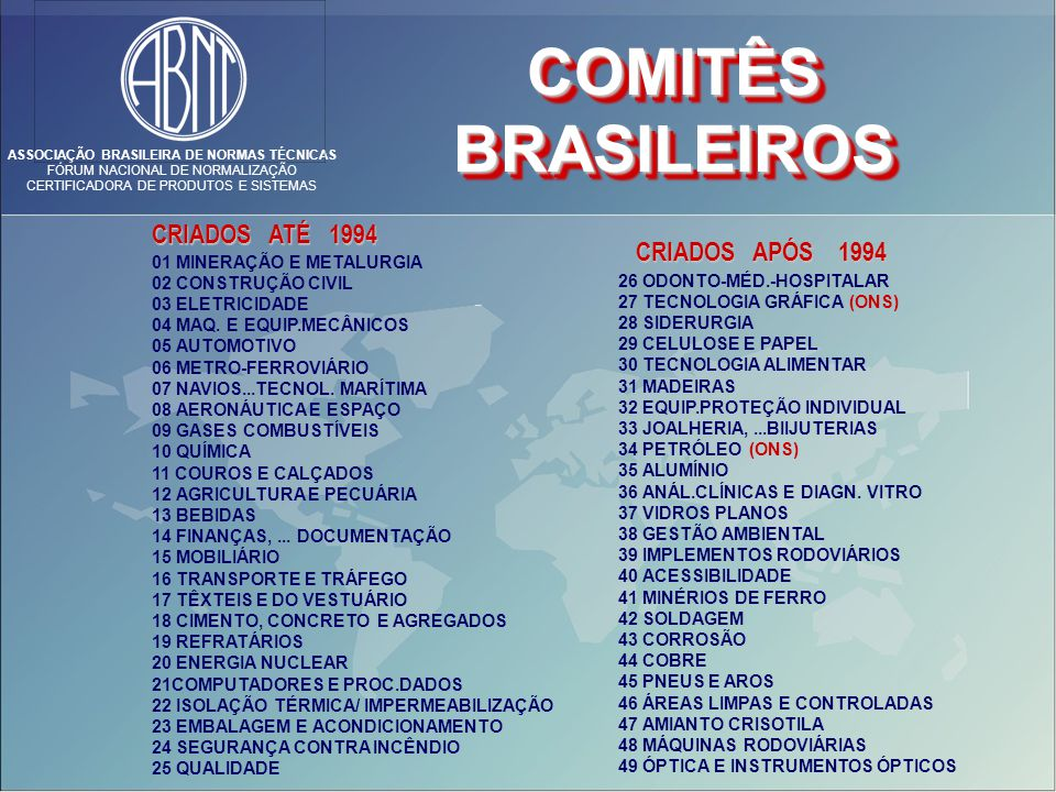 ASSOCIAÇÃO BRASILEIRA DE NORMAS TÉCNICAS FÓRUM NACIONAL DE NORMALIZAÇÃO CERTIFICADORA DE PRODUTOS E SISTEMAS 01 MINERAÇÃO E METALURGIA 02 CONSTRUÇÃO CIVIL 03 ELETRICIDADE 04 MAQ.