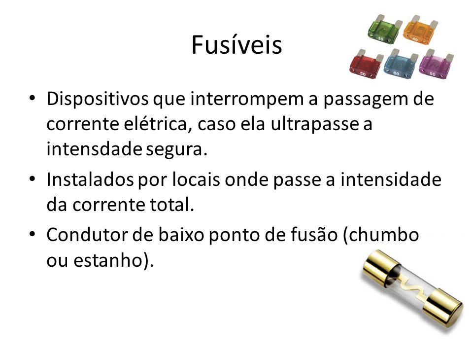 Fusíveis Dispositivos que interrompem a passagem de corrente elétrica, caso ela ultrapasse a intensdade segura. Instalados por locais onde passe a int