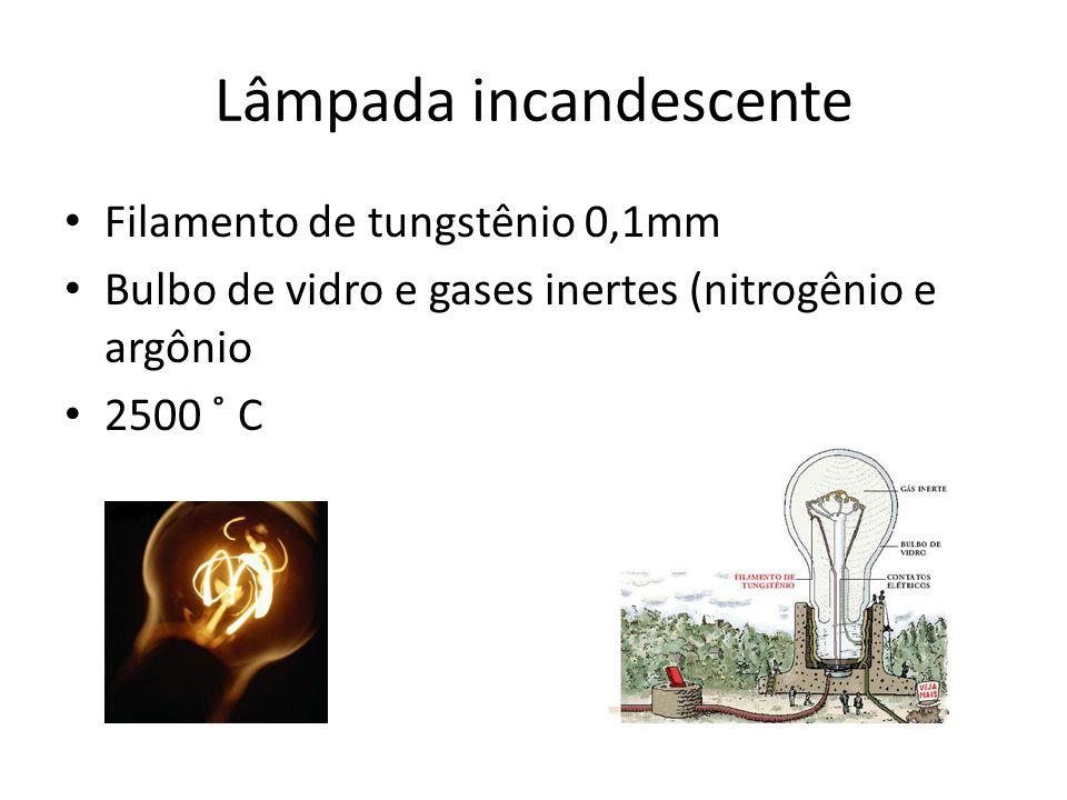 Lâmpada incandescente Filamento de tungstênio 0,1mm Bulbo de vidro e gases inertes (nitrogênio e argônio 2500 ˚ C