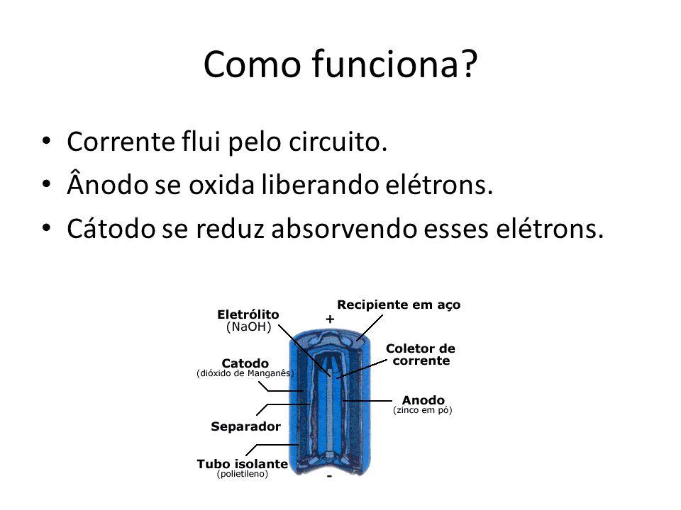 Como funciona? Corrente flui pelo circuito. Ânodo se oxida liberando elétrons. Cátodo se reduz absorvendo esses elétrons.