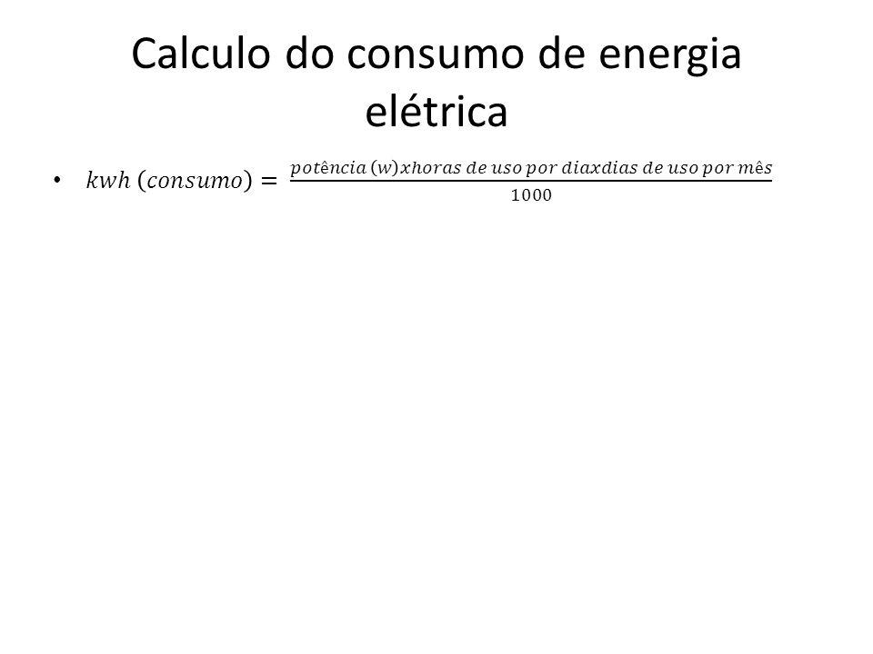 Calculo do consumo de energia elétrica