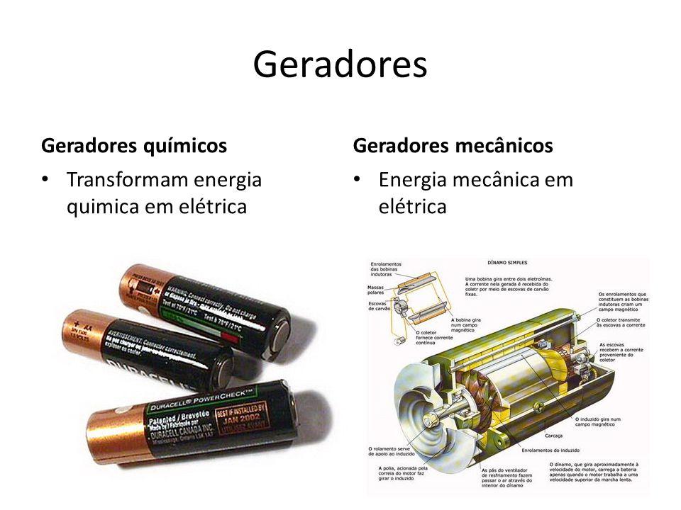 Geradores Geradores químicos Transformam energia quimica em elétrica Geradores mecânicos Energia mecânica em elétrica