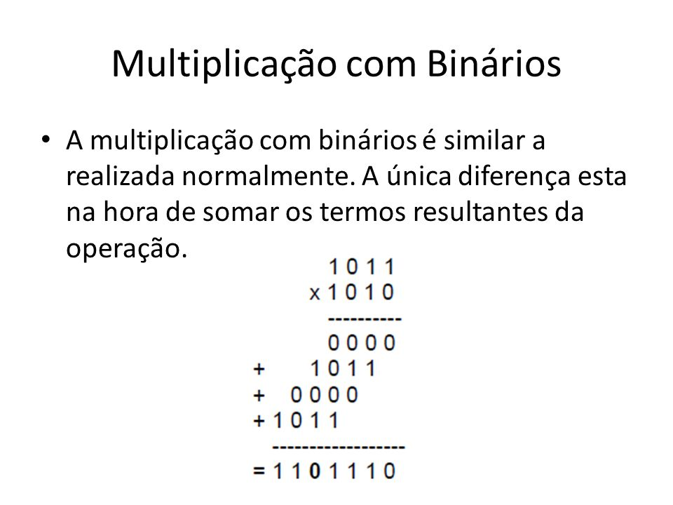 Frações decimais em binários Multiplica-se a parte fracionária sucessivamente, até que ela seja igual a zero ou cheguemos na precisão desejada.