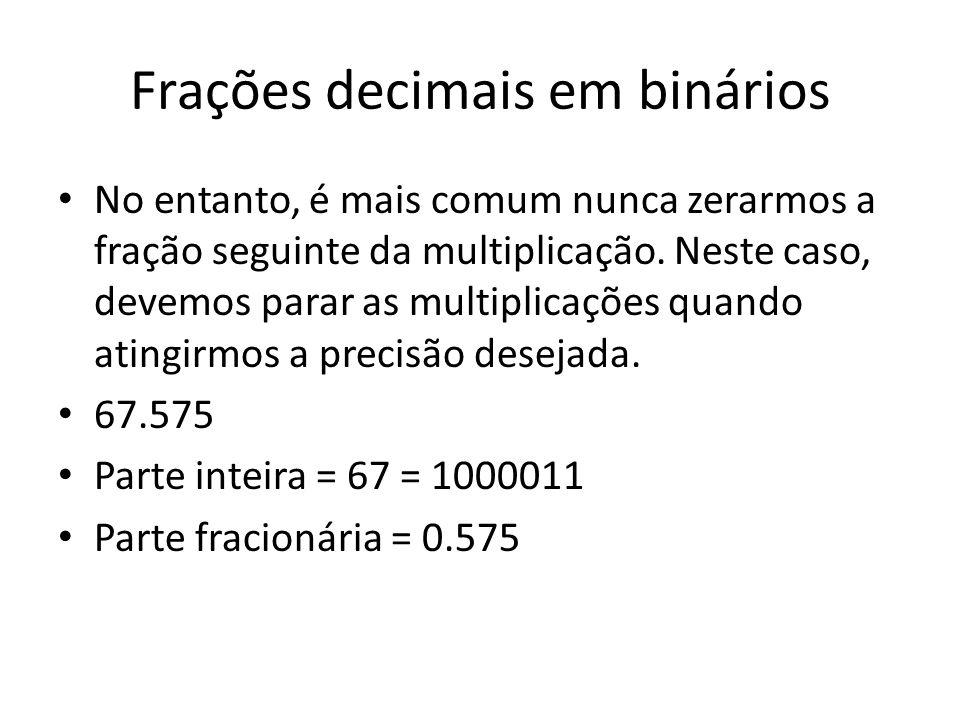 Frações decimais em binários Ou seja, entramos em um ciclo sem fim.