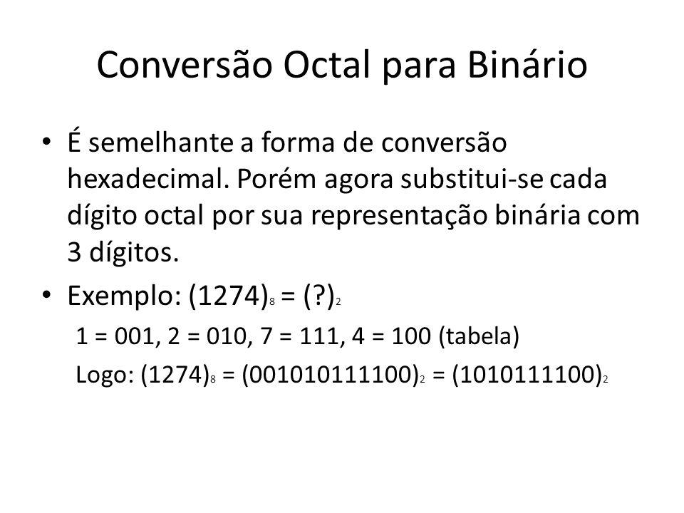 Conversão binário para hexadecimal Para converter binário para hexadecimal, utiliza-se o procedimento inverso a conversão hexadecimal para binário.