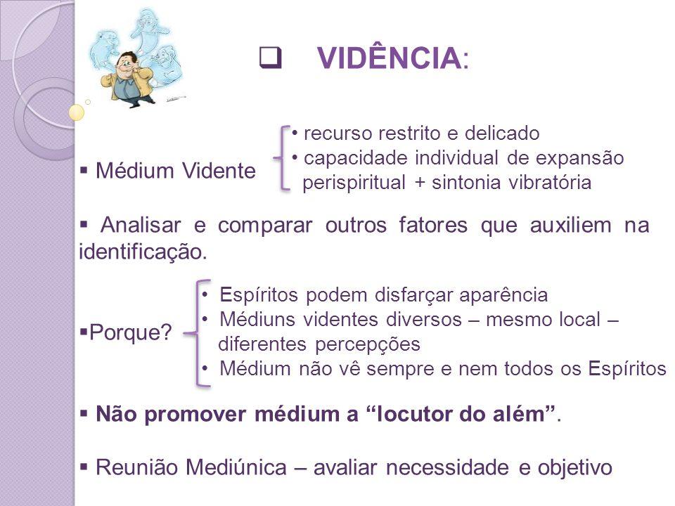 VIDÊNCIA: Médium Vidente Analisar e comparar outros fatores que auxiliem na identificação.