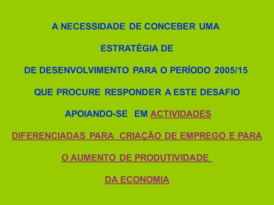 A NECESSIDADE DE CONCEBER UMA ESTRATÉGIA DE DE DESENVOLVIMENTO PARA O PERÍODO 2005/15 QUE PROCURE RESPONDER A ESTE DESAFIO APOIANDO-SE EM ACTIVIDADES