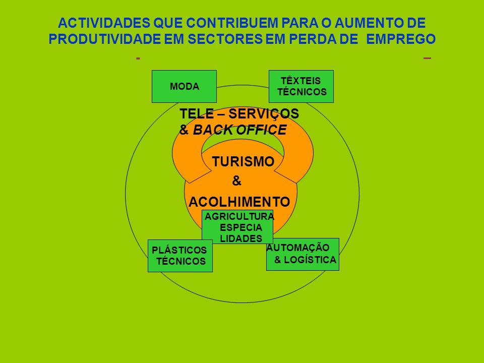 TURISMO & ACOLHIMENTO -– TELE–SERVIÇOS & BACK OFFICE TÊXTEIS TÉCNICOS AUTOMAÇÃO & LOGÍSTICA MODA AGRICULTURA ESPECIA LIDADES PLÁSTICOS TÉCNICOS ACTIVIDADES QUE CONTRIBUEM PARA O AUMENTO DE PRODUTIVIDADE EM SECTORES EM PERDA DE EMPREGO