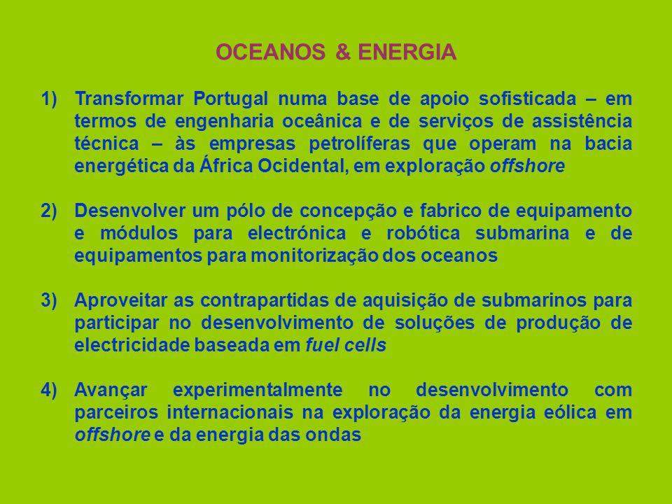 OCEANOS & ENERGIA 1)Transformar Portugal numa base de apoio sofisticada – em termos de engenharia oceânica e de serviços de assistência técnica – às empresas petrolíferas que operam na bacia energética da África Ocidental, em exploração offshore 2)Desenvolver um pólo de concepção e fabrico de equipamento e módulos para electrónica e robótica submarina e de equipamentos para monitorização dos oceanos 3)Aproveitar as contrapartidas de aquisição de submarinos para participar no desenvolvimento de soluções de produção de electricidade baseada em fuel cells 4)Avançar experimentalmente no desenvolvimento com parceiros internacionais na exploração da energia eólica em offshore e da energia das ondas